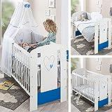 weißes Babybett– 120 x 60 Babybett – Bequeme Mat-ratze, schöne Bettwäsche, Himmel, Nestchen, Kinderbett, Bei-stellbett (Babybett Blau)