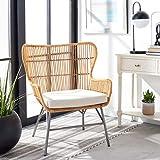 Safavieh Home Collection Lenu Rattan White Cushion Accent Chair, Natural/Black