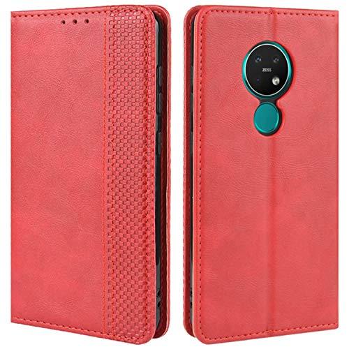HualuBro Handyhülle für Nokia 7.2 Hülle, Nokia 6.2 Hülle, Retro Leder Stoßfest Klapphülle Schutzhülle Handytasche LederHülle Flip Hülle Cover für Nokia 7.2 / Nokia 6.2 Tasche, Rot
