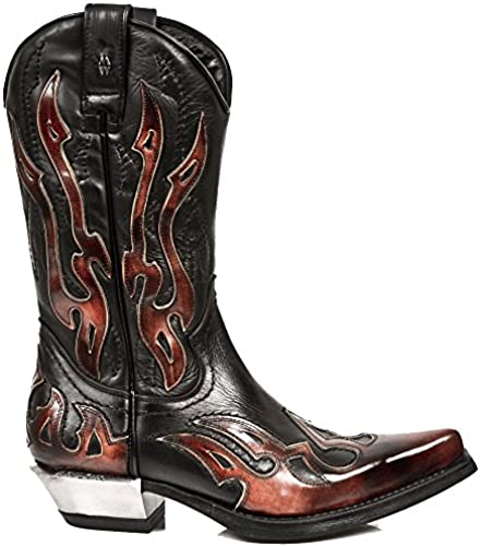 New Rock M-7921-S2-46 schwarz Stiefel mit Roten Flammendekorationen, Zipper und Block-Heel in Metal-Look Aus der West Kollektion.