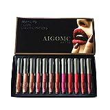 Cyeer Lipstick Set de 12 pintalabios líquido impermeable mate cosmético Sexy Lip Gloss Kit