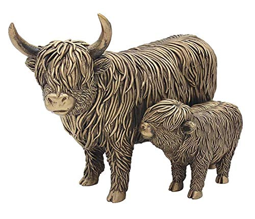 Highland Cow and Calf Ornament Figure Sculpture Home Decor Leonardo