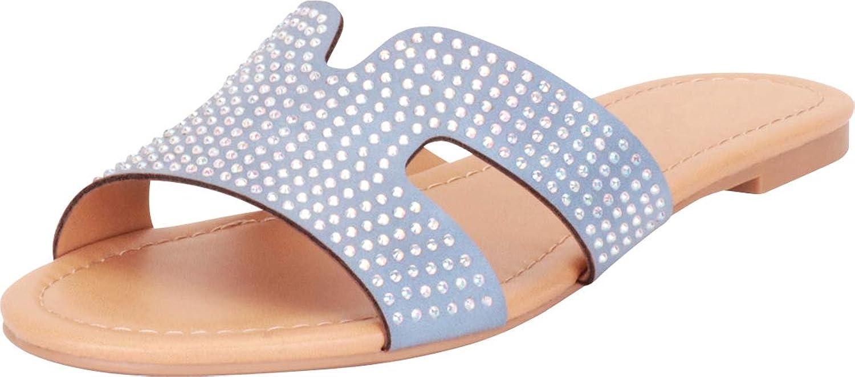 Cambridge Select Women's Open Toe Side Cutout Crystal Rhinestone Slip-On Flat Slide Sandal