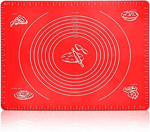 Alfombrilla de silicona para pastelería y horno – FDA Free Medidas 40 x 50 – Enrollable, lavable, antideslizante, preparación para horno y cocina (rojo)