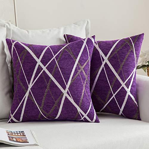 MIULEE Fundas de Cojines Funda de Almohada Chenilla para Sofá Diseño Rayas Geométricos Decoracion para Oficina Cama Silla Habitacion Matrimonio Salón Dormitorio 45x45cm 2 Piezas Helado Púrpura