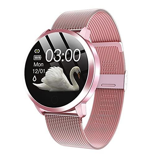 KSSMJZ Reloj Inteligente a la Moda para Mujer, Resistente al Agua, Monitor de presión Arterial, Reloj Inteligente, Regalo para Mujer, Reloj Pulsera (Color : Pink)