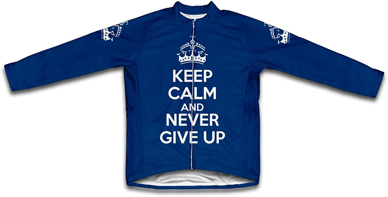 Keep Calm and Never Give Up Long Sleeve Cycling Jersey for Women Navy Size 3XL