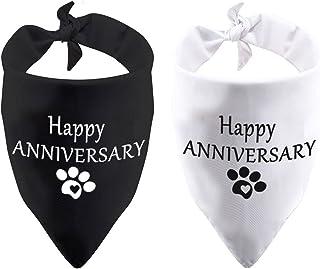 عبوة من 2 قطعة من باندانا Happy Anniversary Dog للإعلان عن الحمل هدية إعلان الطفل