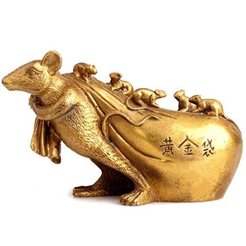 HANYUEXIA Kupferne Ratten-Dekoration Feng Shui Goldbeutel Ratten-Tierkreis-Ratte Glückliche 12 Tierkreis-Ratte