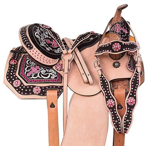 Western Riding Silla de montar para caballo de cuero de primera calidad, tamaño de 17 pulgadas, asiento disponible para conseguir a juego de cuero, cuello de pecho, riendas