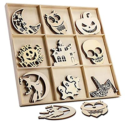 27 Pcs Halloween Wooden Gift Tags Blank Wooden Decorative Hanging Ornaments Cutouts Crafts with 27 Pcs Twine Ropes for Kids Halloween Tree Decoration(Witch)
