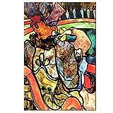 Pozino Cuadro de Lienzo Toulouse Lautrec Antiguo Artista Maestro Famoso Papa Chrysanthème Pintura de Circo póster Impreso para decoración de Habitaciones 60x90cm