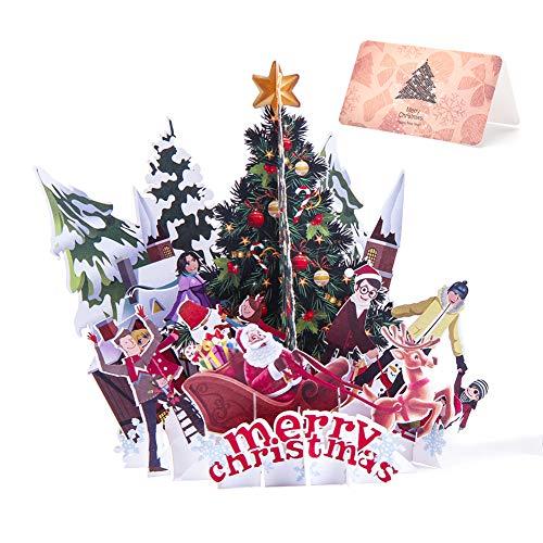 Cartes de voeux de Noël 3D, cartes de Noël 3D Pop Up cartes de cadeau de vacances arbre de Noël/renne/père Noël/château/carte de voeux et enveloppes pour de Noël (Green)