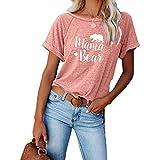 DREAMING-Tops de Verano para Mujer, Jerseys Casuales, Camisetas de Manga Corta con Cuello Redondo Suelto Dividido con Bloqueo de Color S