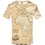 HGTZ Tshirt 3D Mappa del Mondo T-Shirt Uomo Vintage Magliette Casual Divertenti T-Shirt 3D Geometric Tshirt Stampato Camicia Stampa Abbigliamento Uomo