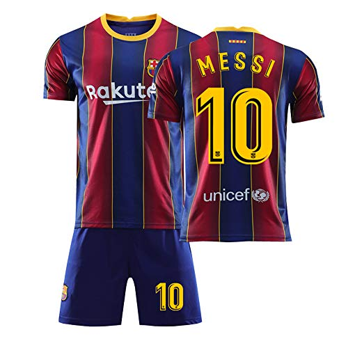ZGDGG T-Shirt Set Fußball Barcelona Blau Saison 2020-2021 Replica for Fußballfan,Messi 10 Home,M