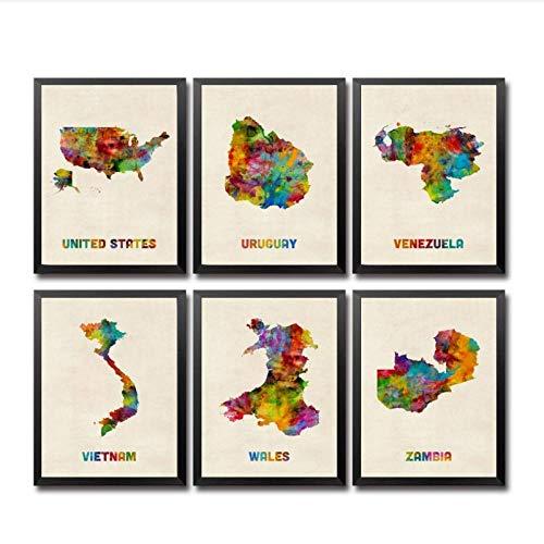 Zhaoyangeng Uruguay Venezuela Vietnam Wales Zambia USA aquarel land kaart Canvas Poster- 40X50Cmx6 geen frame