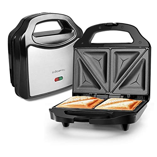 Aigostar Sandwich Maker Toaster Dreieckig Metall Leichte Reinigung Antihaftbeschichtung Trockengehschutz Kabelaufwicklung LED-Bereitschaftsanzeige 700 Watt BPA Frei Schwarz Silber Platten 23 x 13cm