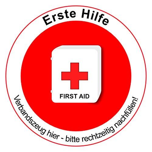 Sticker eerste hulp doos hier - instructiebord 15 cm diameter