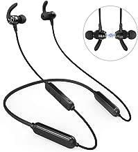 Wireless Headphones, 46H Playtime Bluetooth Headphones IPX6 Waterproof Earphones, HiFi Stereo Magnetic in-Ear Headphones for Running Sport with Microphone, Volume Control & Hand Free Calls (Black)
