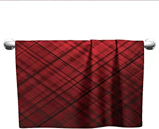 alisoso Red and Black,Gym Towel Scottish Kilt Design Pattern with Stripes Lines Squares Ombre Image Machine Washable Burgundy and Scarlet W 20