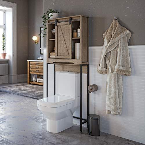 Landia Home Over The Toilet Storage - Bathroom Shelf with Sliding Barn Door