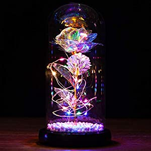 Silk Flower Arrangements SPRIF Galaxy Rose Flowers Forever Enchanted Rose with Colorful LED Light in Glass Dome for Romantic Gifts on Valentine Mothers Day Anniversary (Colorful)