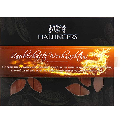 Hallingers Vollmilch-Schokolade mit Macadamia-Nougat hand-geschöpft (90g) - Zauberhafte Weihnachten! (Tafel-Karton) - zu Weihnachten