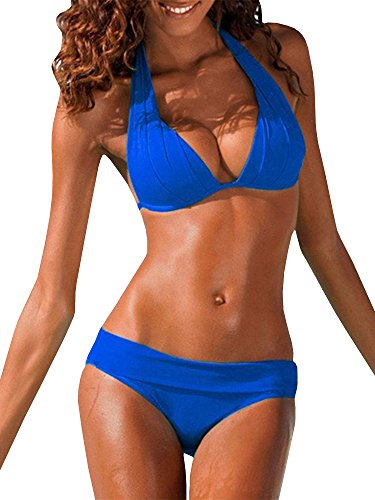 Womens Halter Padded Top Push up Bikini Set Two Piece Swimsuits Bathing Suits Beachwear, Blue, X-Large