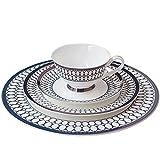 Plato de cerámica de poca profundidad Plato de pastel de 4 piezas Set de plato de cena occidental de estilo europeo y americano taza de café y platillo plato plano de carne