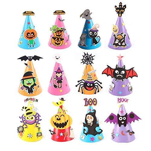 Queta 12pcs DIY Sombreros de Halloween para Niños, DIY Gorros de Cono Sombrero de Papel Dibujos Animados, Murciélago Calabaza Fantasma Araña Mascarada, para Adolescentes Niños