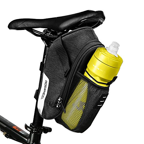 E-More 1.8L Bike Bicycle Saddle Bag Mountain Road MTB Bike Cycling Storage Pack Under Seat Packs Tail Pouch Compact Bike Back Seat Rear Bag Repair Tools Pocket Pack with Pocket for Water Bottle (1.8L)