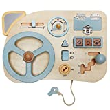 Montessori Toy Steering Wheel - Car Driving Busy Board for Toddlers - Wooden Sensory Activity Board for Kids 1 2 3 4 Year Old - Fine Motor Skills Toddler Driver Toys with Keys Latches Buttons