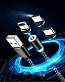 Rocketkart Multi Charging Cable, 3 in 1 Nylon Braided Fast Charging Cord Magnetic Charger USB Cable For iPhone Micro USB Type C Mobile Phone Cable Fast Charging Magnet Charger USB Wire Cord, Black