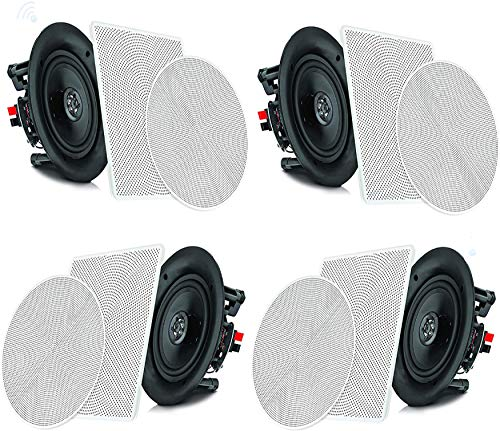 """Pyle 6.5"""" 4 Bluetooth Flush Mount In-wall In-ceiling 2-Way Speaker System Quick Connections Changeable Round/Square Grill Polypropylene Cone & Tweeter Stereo Sound 4 Ch Amplifier 200 Watt - PDICBT266"""