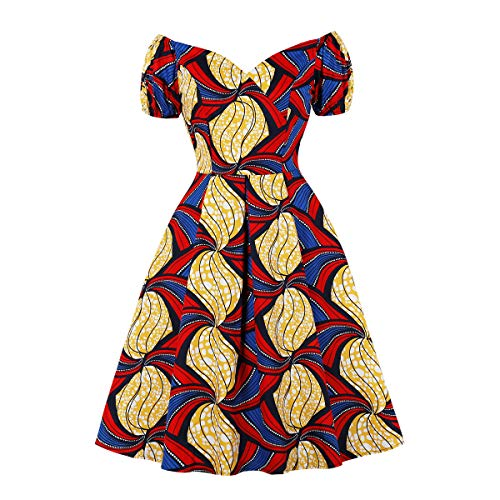 Wellwits Women's Pleated Bubble Sleeves African Print Off Shoulder Vintage Dress S
