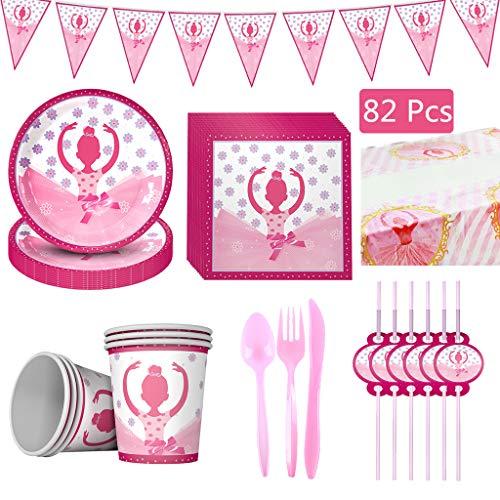 Houstory Juego de 82 bailarinas de niña para fiesta de cumpleaños, incluye platos, vasos, manteles, servilletas, pajitas y cubiertos.