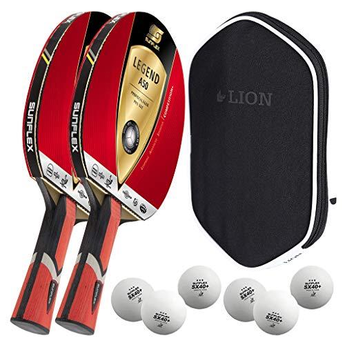 Sunflex 2 x Legend A50 Tischtennisschläger + Tischtennishülle + 2 x 3*** ITTF SX+ Tischtennisbälle | Tischtennisschlägerset | Tischtennis Profi Set