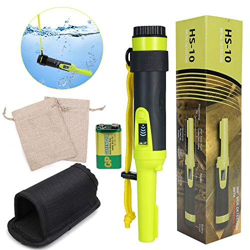 PiscatorZone Pin Pointer Fully Waterproof Metal Detector HS-10 with LCD Display Portable Handheld Treasure Finder with Treasure Bags