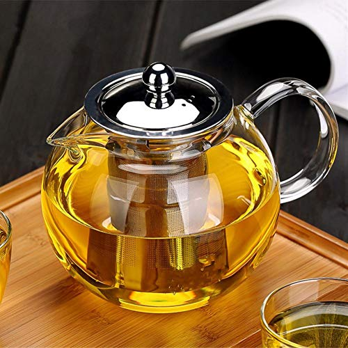 Glass Teapot with Removable Infuser OBOR Stovetop Safe Kettle Blooming and Loose Leaf Tea Maker Set 650ml/22oz