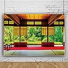 Qinunipoto 和風 背景布 2.5x1.8m 和室 伝統的な木造建築 和風写真 撮影用 京都 日本風格 背景幕 家の装飾 古典 撮影布 人物撮影 写真館 自宅用 商業用 無反射 ビニール製