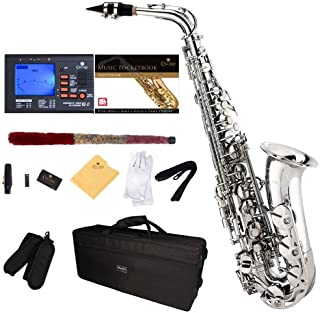 Mendini by Cecilio MAS-N+92D+PB Nickel Plated E Flat Alto Saxophone with Tuner, Case, Mouthpiece, 10 Reeds and More