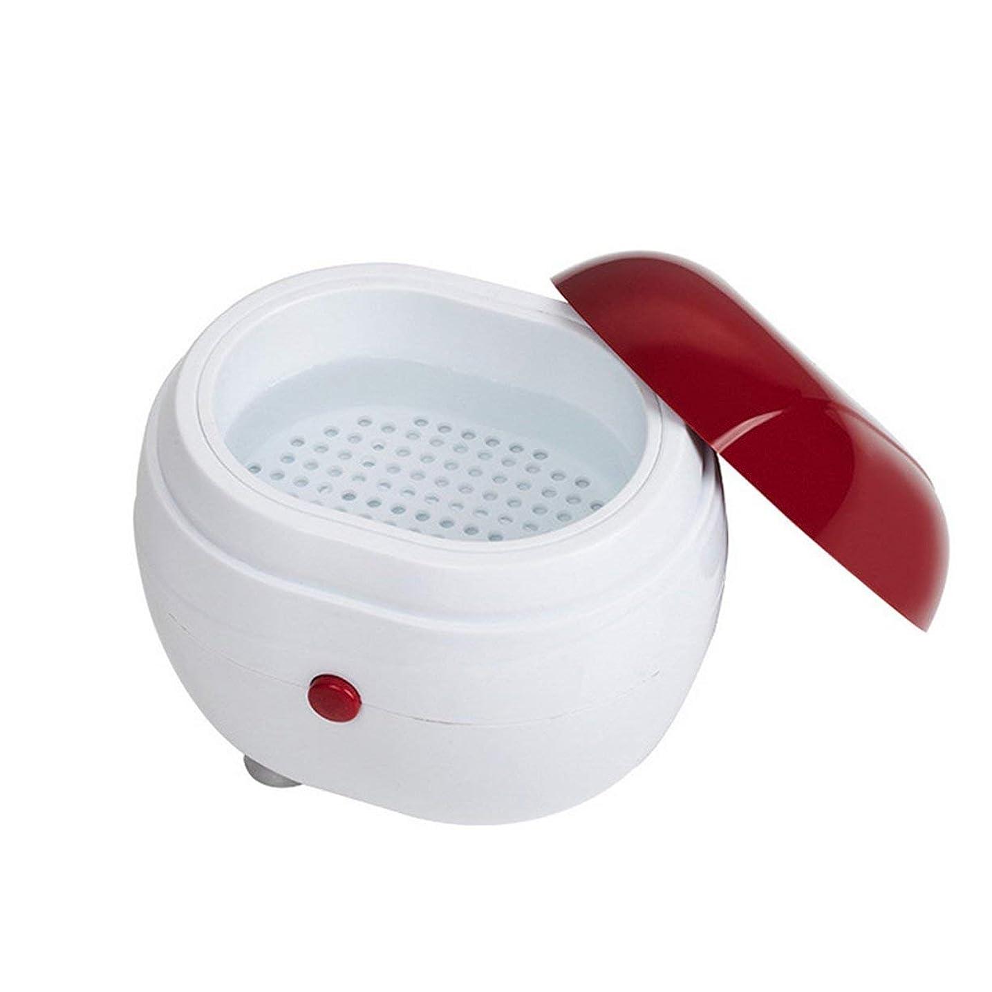 横向き啓発する無傷ポータブル超音波洗濯機家庭用ジュエリーレンズ時計入れ歯クリーニング機洗濯機クリーナークリーニングボックス - 赤&白