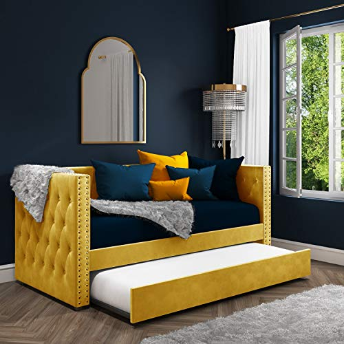 SACHA Velvet Day Bed in Mustard Yellow - Trundle Bed Included