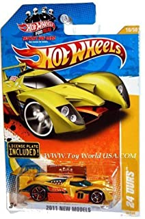 Hot Wheels Yellow 24 OURS #10/244, 2011 New Models #10/50 - w/mini License Plate