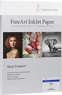 Hahnemuhle Matte Photo Rag, 100 % Rag, Smooth, Bright White Inkjet Paper, 19 mil., 308 g/mA, 8.5x11