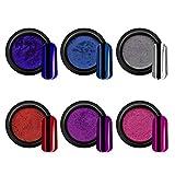 Nail Art - Polvo de purpurina para decoración de uñas mágica con efecto espejo, pincel para uñas de gel, polvo cromado metálico brillante, diseño de uñas (juego de 6 unidades n.º 07-12)