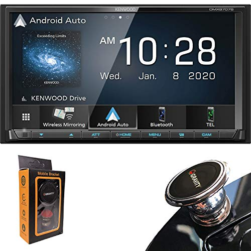 Kenwood DMX Series 6.95' Resistive Touchscreen Digital multimedia receiver with Bluetooth (does not play CDs) | With Apple CarPlay and Android Auto with Gravity Phone Holder Bundle