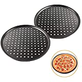 2 Pcs 12 Inch Pizza Pan with Holes,Non-stick Pizza Crisper Pan,Round Pizza Bakeware for Home Kitchen...