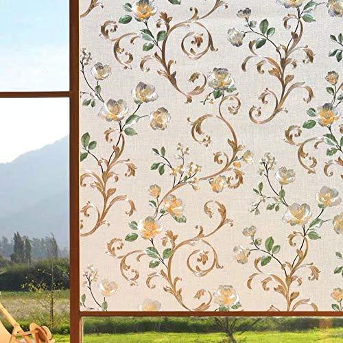 Farbpfingstrose 3D-Fensterfolie,kleberfreie elektrostatische Färbung Dekoration Privatsphäre Glas Aufkleber,Heimdekoration Folie P 50x200cm